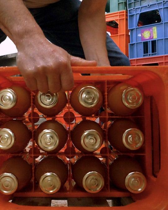 Casier à bouteilles pour le jus de pomme